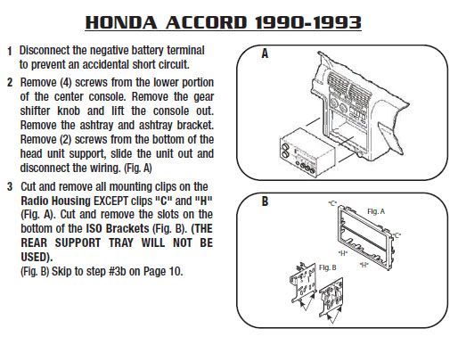 1990 Honda Accord Installation Parts  Harness  Wires  Kits