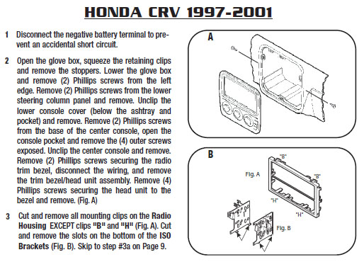 1998 Honda Crv Installation Parts, harness, wires, kits ... on