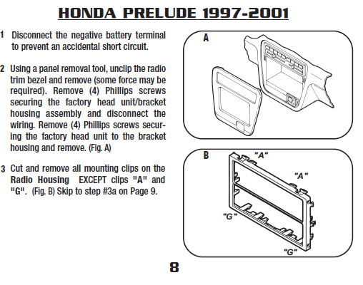 2001 Honda Prelude Installation Parts  Harness  Wires