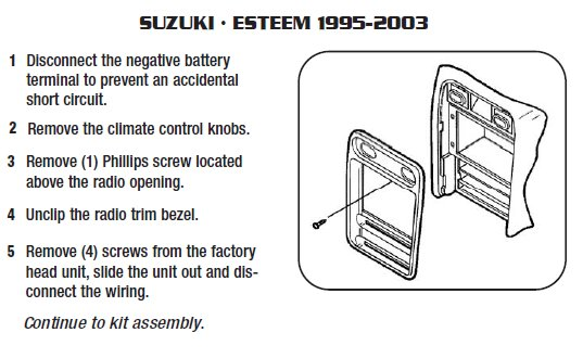 2001 Suzuki Esteem Installation Parts  Harness  Wires
