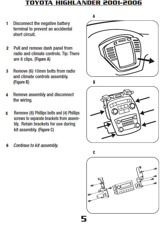 2001 Toyota Highlander Installation Parts Harness Wires Kits