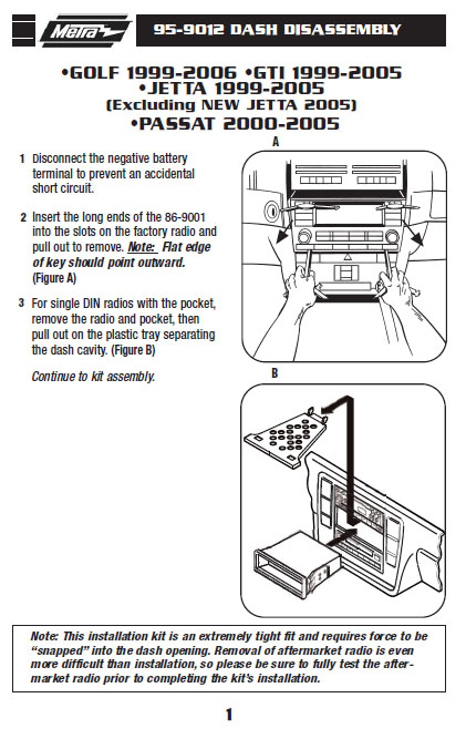 2001 Volkswagen Jetta Installation Parts Harness Wires Kits Bluetooth Iphone Tools Wire Diagrams Stereo