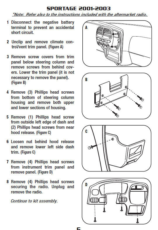 2002 Kia Sportage Installation Parts  Harness  Wires  Kits