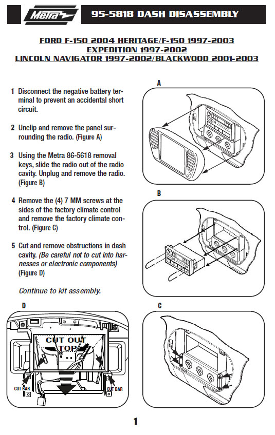 2002 Lincoln Navigator Installation Parts, harness, wires, kits, bluetooth,  iphone, tools, 4dr suv wire diagrams Stereo