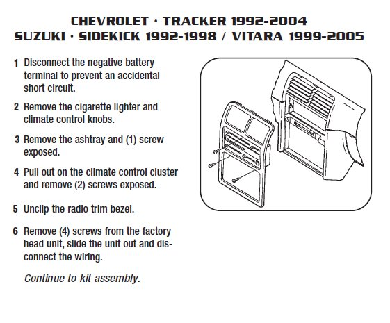 2003 Chevrolet Tracker Installation Parts, harness, wires, kits, bluetooth, iphone, tools, wire diagrams Stereo