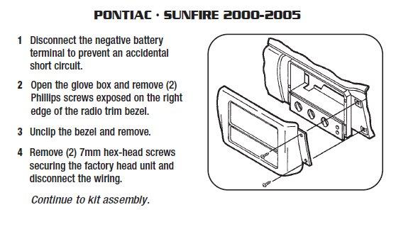 2003 Pontiac Sunfire Installation Parts Harness Wires Kits