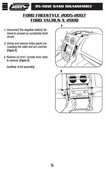 2005 Ford Freestyle Installation Parts, harness, wires, kits, bluetooth,  iphone, tools, wire diagrams StereoCar Installer Parts