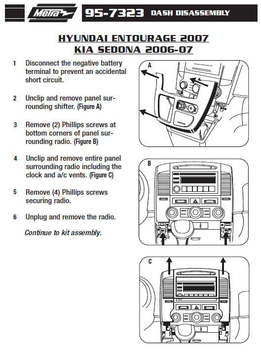 2006 Kia Sedona Installation Parts Harness Wires Kits