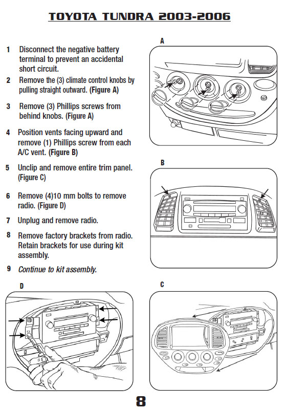 2006 Toyota Tundra Installation Parts, harness, wires, kits, bluetooth,  iphone, tools, wire diagrams StereoCar Installer Parts