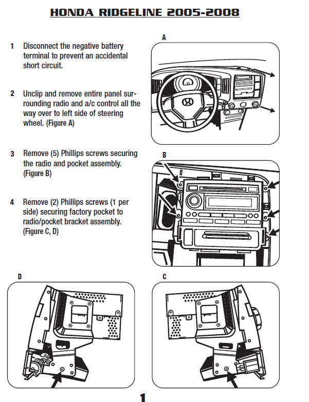 2007 Honda Ridgeline Installation Parts Harness Wires Kits Bluetooth Iphone Tools Wire Diagrams Stereo