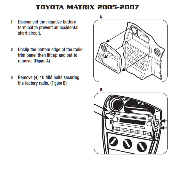 toyota matrix car audio