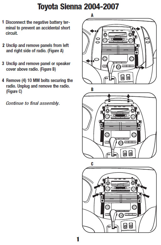 2004 Toyota Sienna Installation Parts, harness, wires, kits, bluetooth,  iphone, tools, wire diagrams StereoInstaller.com