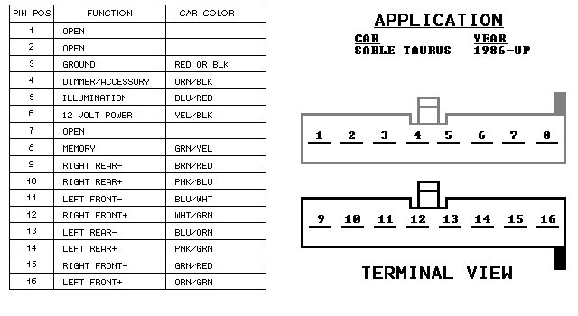 2000 ford taurus radio wiring harness wiring diagram img 2000 Ford Taurus Power Steering Pump