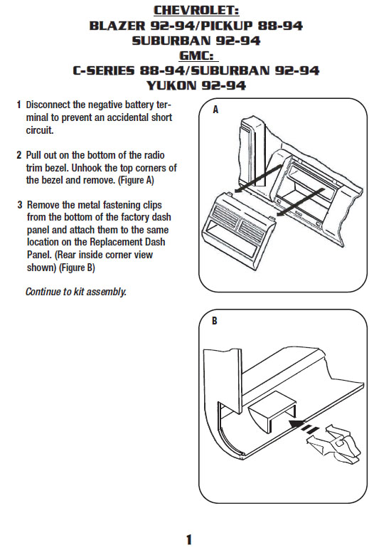 .1992-CHEVROLET-SUBURBANinstallation instructions.