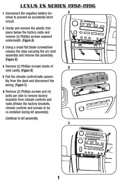1995 lexus es300installation instructions. Black Bedroom Furniture Sets. Home Design Ideas