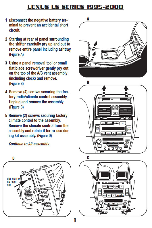 1995   LEXUS   LS400installation instructions