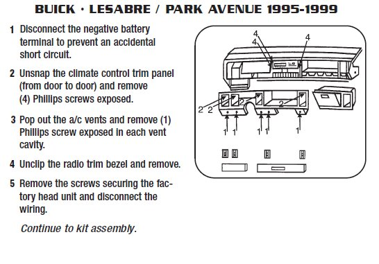 1997   BUICK      PARK    AVENUEinstallation instructions