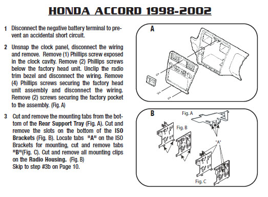 1998 honda accordinstallation instructions. Black Bedroom Furniture Sets. Home Design Ideas