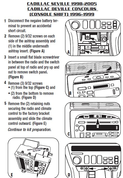 1999 cadillac sevilleinstallation instructions