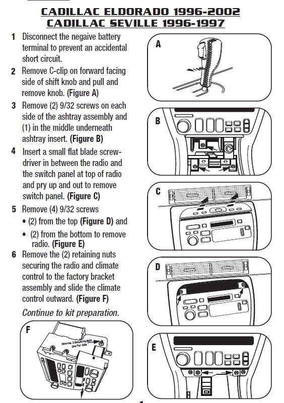 2000 CADILLAC ELDORADOinstallation instructions