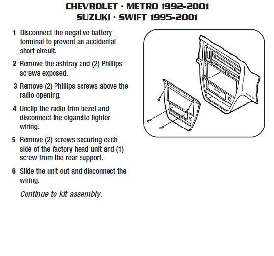 2000 chevrolet metroinstallation instructions. Black Bedroom Furniture Sets. Home Design Ideas
