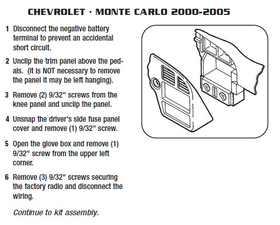 2000 chevrolet monte carloinstallation instructions. Black Bedroom Furniture Sets. Home Design Ideas