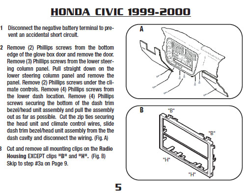 2000 honda civicinstallation instructions. Black Bedroom Furniture Sets. Home Design Ideas
