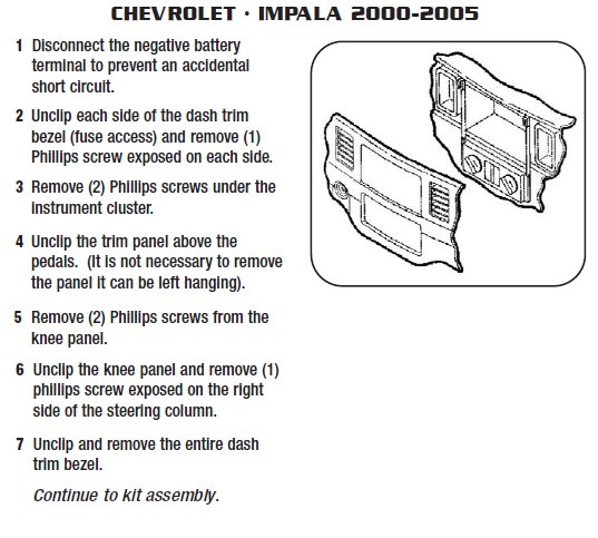 2001 chevrolet impalainstallation instructions. Black Bedroom Furniture Sets. Home Design Ideas