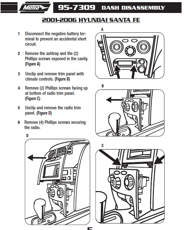 2001 HYUNDAI SANTA FEinstallation instructions