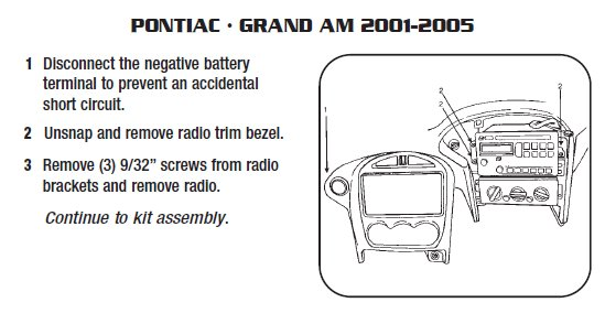 2001 PONTIAC Grand AMinstallation instructions