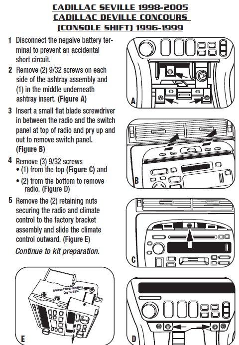 2002 cadillac sevilleinstallation instructions. Black Bedroom Furniture Sets. Home Design Ideas