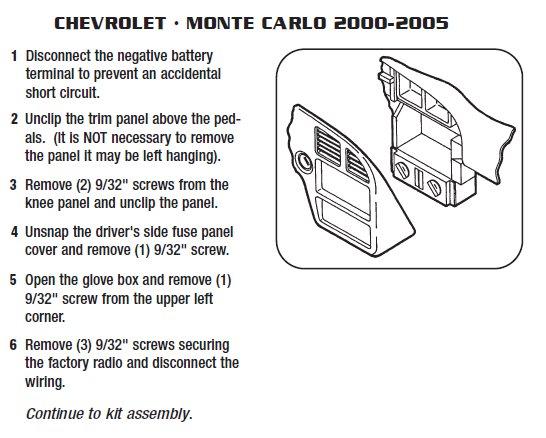 2002 chevrolet monte carloinstallation instructions. Black Bedroom Furniture Sets. Home Design Ideas