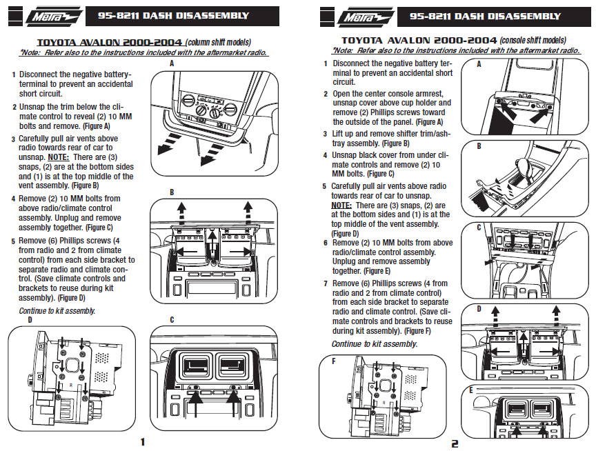 2002 TOYOTA AVALONinstallation instructions