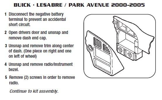2003 buick park avenueinstallation instructions. Black Bedroom Furniture Sets. Home Design Ideas