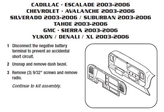 2003 cadillac escaladeinstallation instructions. Black Bedroom Furniture Sets. Home Design Ideas