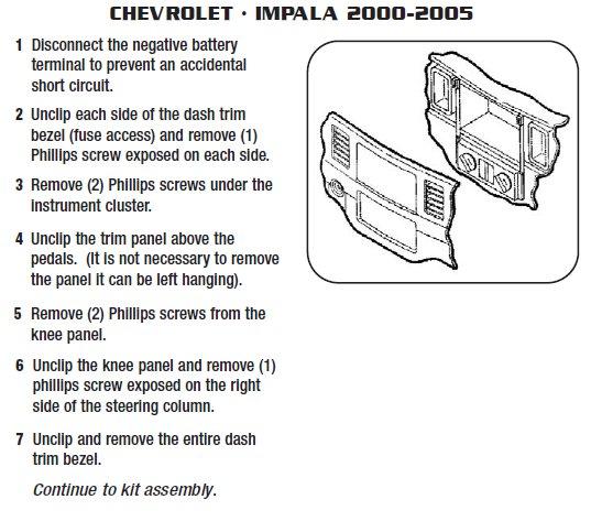 2003 chevrolet impalainstallation instructions. Black Bedroom Furniture Sets. Home Design Ideas