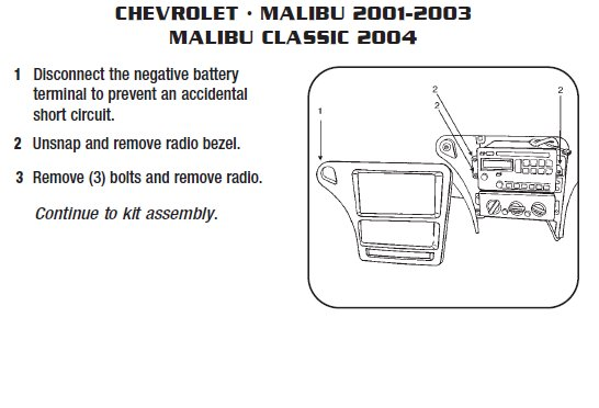 2003   CHEVROLETMALIBUinstallation instructions