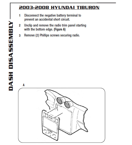 2003   HYUNDAI   TIBURONinstallation instructions