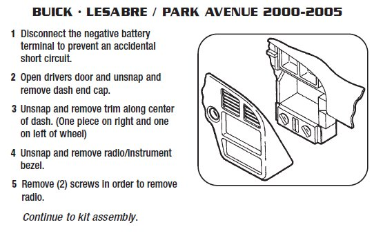 2004 buick park avenueinstallation instructions. Black Bedroom Furniture Sets. Home Design Ideas
