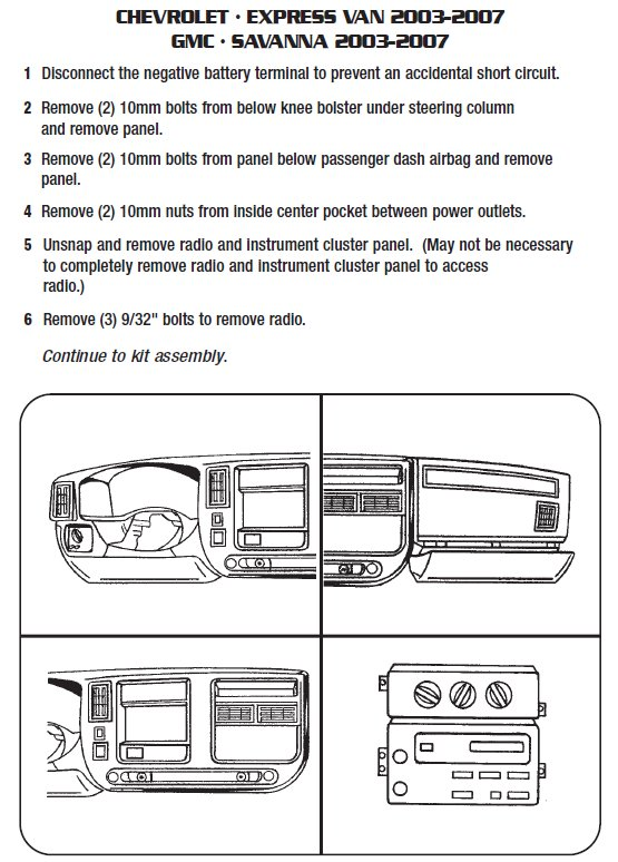 2004 chevrolet express vaninstallation instructions. Black Bedroom Furniture Sets. Home Design Ideas
