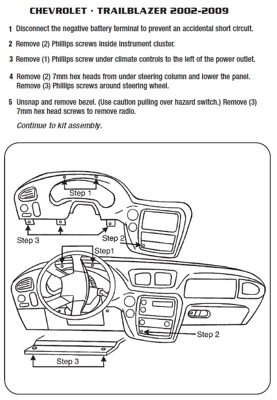 2004 CHEVROLET TRAILBLAZERinstallation instructions