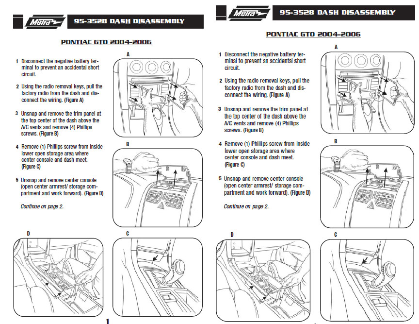 2005 PONTIAC GTOinstallation instructions