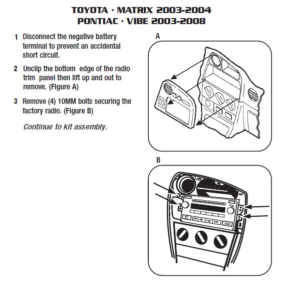 2005 pontiac vibeinstallation instructions