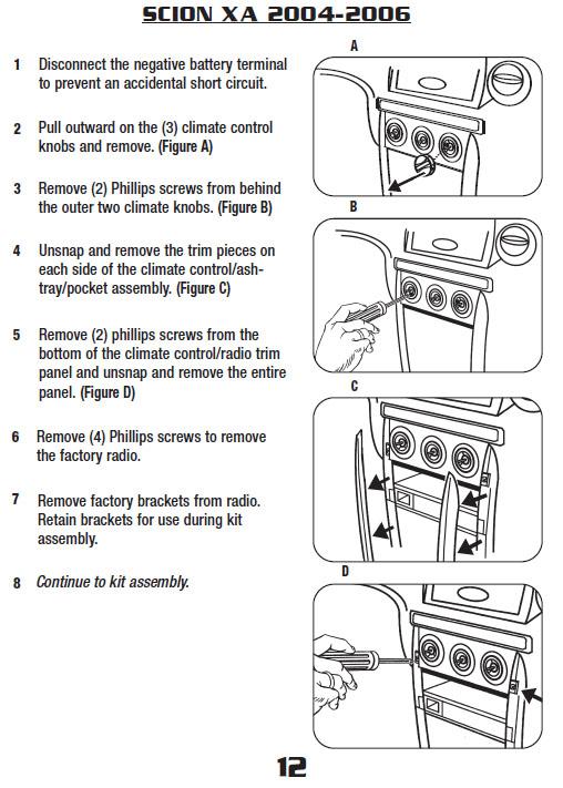 2005 scion xainstallation instructions. Black Bedroom Furniture Sets. Home Design Ideas