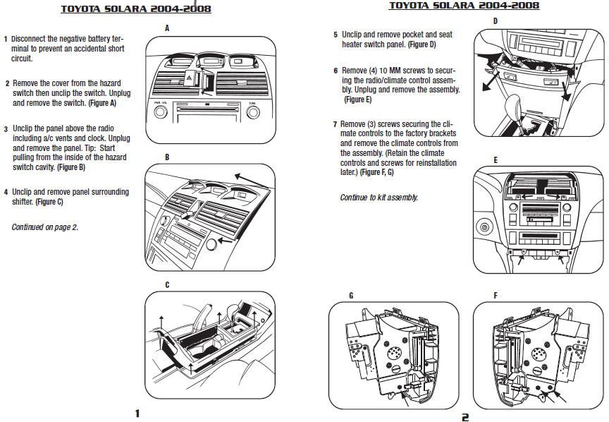 .2005-TOYOTA-SOLARAinstallation instructions.