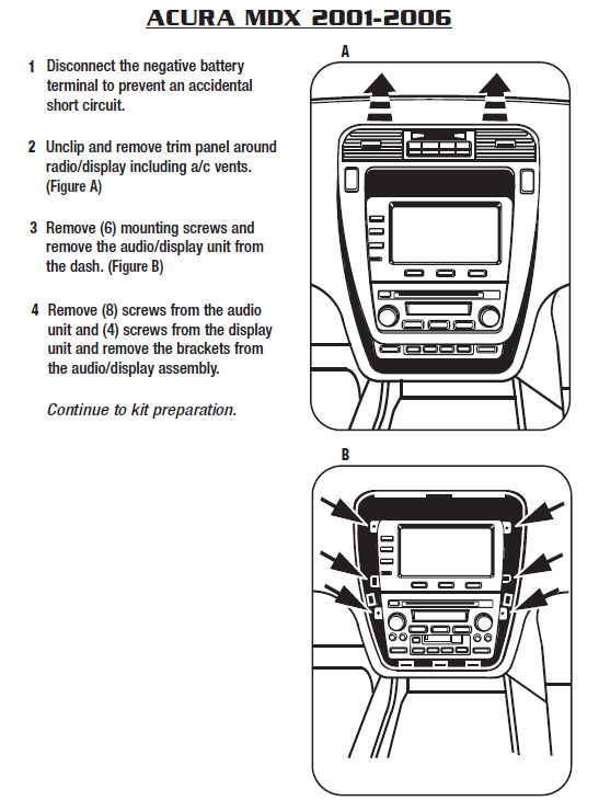 2006 ACURA MDXinstallation instructions