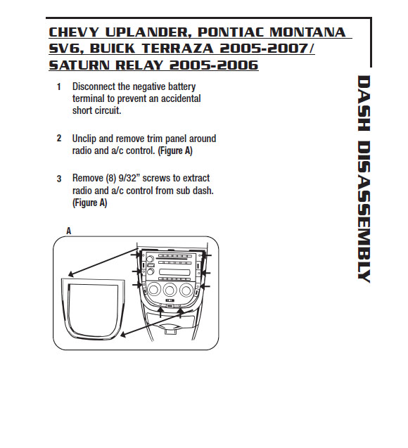 2006 chevrolet uplanderinstallation instructions. Black Bedroom Furniture Sets. Home Design Ideas