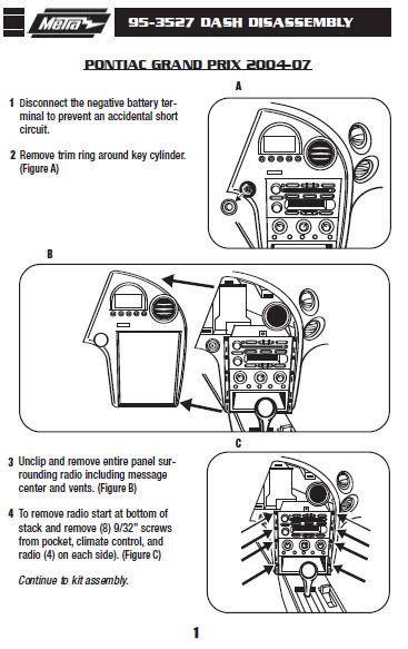2006 Pontiac Grand Prixinstallation Instructions