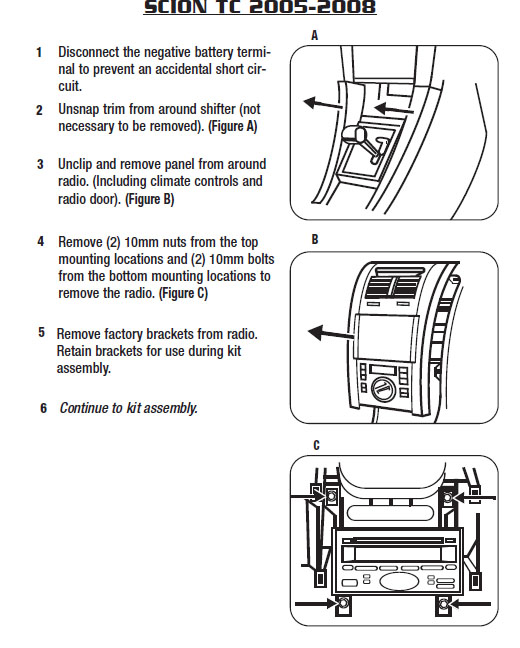 2006 SCION tCinstallation instructions