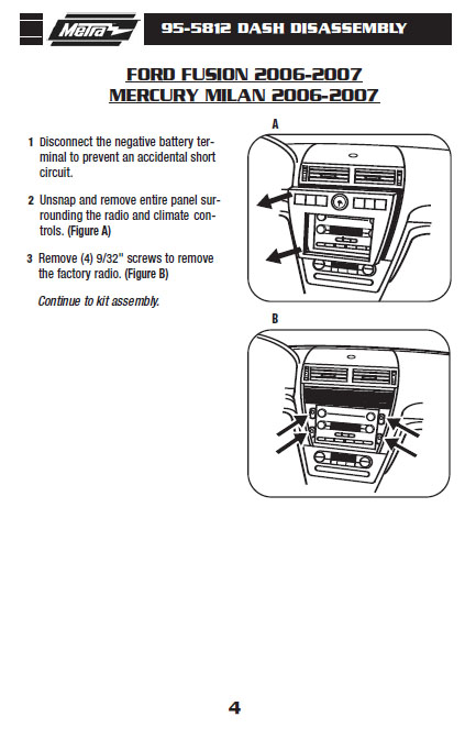 2007 FORD FUSIONinstallation instructions
